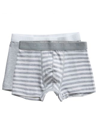 Ten Cate Jongens Boxershort 2Pack Stripe and Light Grey Melee 2-10Y Boys
