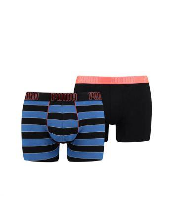 Puma Boxershort 2 pack Bold Stripe Blauw Oranje