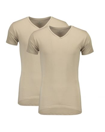 Suaque Long T-Shirt V-Neckshirt 2Pack Khaki