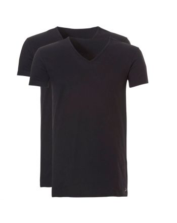 Ten Cate Mannen Basic V-Shirt 2Pack Zwart