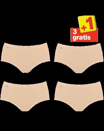 Sloggi Basic Midi Slip 4 pack Huid 3+1 Gratis