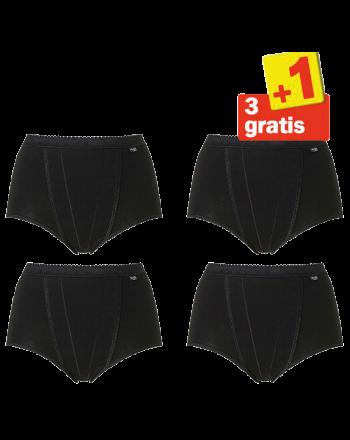 Sloggi Control Maxi 4 pack Zwart 3+1 Gratis
