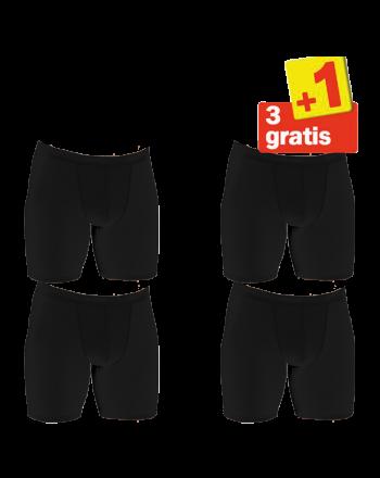 Sloggi Men basic Long Boxershort 4 pack Zwart 3+1 Gratis
