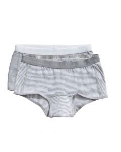 Ten Cate Meisjes Short 2Pack Stripe and Light Grey Melee 2-10Y Girls
