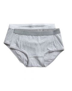 Ten Cate Meisjes Brief Slip 2Pack  Stripe and Light Grey Melee 2-10Y Girls