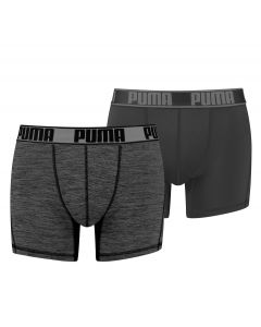 Puma Active Boxer Black Grizzly Melange 2Pack Heren Short
