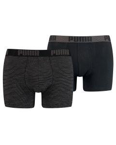 Puma Boxershort 2pack Birdfeet Stripe Black Combo