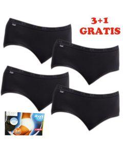 Sloggi Women Basic Midi Slip 4 pack Black 3+1 gratis
