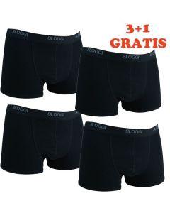 Sloggi Men Basic Short Black 4Pack, 3+1 gratis
